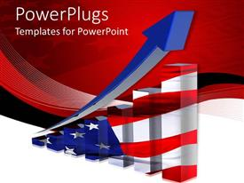 PowerPoint template displaying the economy growth of America along with red background