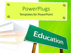 PowerPlugs: PowerPoint template with an education board along with books in the background
