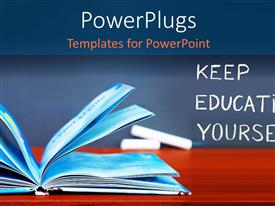 PowerPlugs: PowerPoint template with learning depiction with open book on wooden desk and chalkboard