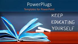 PowerPoint template displaying learning depiction with open book on wooden desk and chalkboard