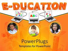PowerPlugs: PowerPoint template with education connected to three laptops with alphabets, numerals, and arithmetic operators