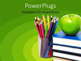 PowerPlugs: PowerPoint template with education green background with books, apple and colored pencils in cup, school, teaching