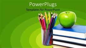 PowerPoint template displaying education green background with books, apple and colored pencils in cup, school, teaching
