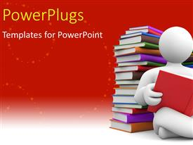 PowerPlugs: PowerPoint template with a 3D character sitting cross legged reading a book.