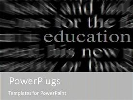 PowerPoint template displaying education metaphor with red word on black and white word background