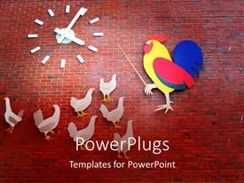 PowerPlugs: PowerPoint template with education metaphor with rooster teaching hens, clock, red brick background