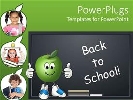 PowerPlugs: PowerPoint template with education school theme with back to school on blackboard chalkboard with chalk happy apple, three apple shapes depicting students pupils child holding books