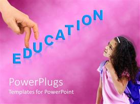PowerPoint template displaying education theme with blue education word and hand with fingers going up the stairs of education, girl thinking