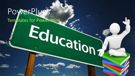 PowerPoint template displaying education theme with education word on green signpost and white 3D figure sitting on pile of green, blue and red books on sky background