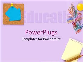 PowerPoint template displaying education theme with education word partially visible, blue arrow pinned to display board, paper pins, small notebook and red pencil