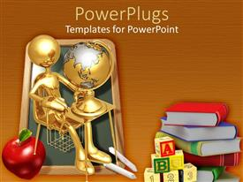 PowerPoint template displaying education theme with gold student at desk with globe, chalkboard, apple, ABC blocks, books, education, school