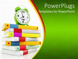 PowerPoint template displaying education theme with various colored cover books one on top of other with green alarm clock showing 8 o clock