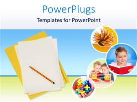 PowerPoint template displaying education theme with yellow folder and white papers with pencil, and four small icons depicting pencils, girl reading a book, two little boys calculating and kid hands holding magnet numbers