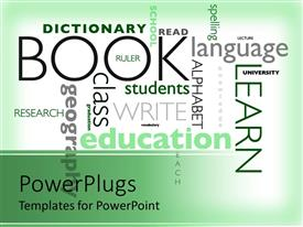PowerPlugs: PowerPoint template with education word cloud, school subjects, learning