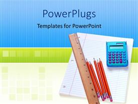 PowerPlugs: PowerPoint template with educational materials, calculator, pencils, ruler and an exercise book