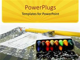 PowerPlugs: PowerPoint template with educational school materials of crayons, sharpener, pencil and a book