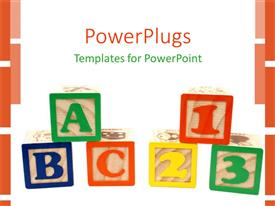 PowerPlugs: PowerPoint template with educational squire boxes showing alphabets and numbers on white background