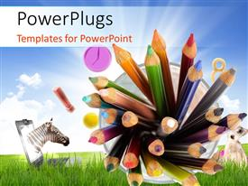 PowerPlugs: PowerPoint template with educatiorn concept with colorful pencils and objects over a landscape