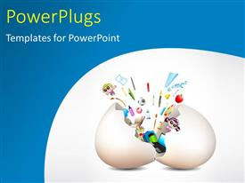 PowerPlugs: PowerPoint template with an egg being hatched with a lot of toys in it