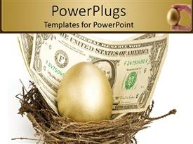 PowerPoint template displaying an egg and a dollar note in a nest