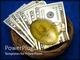 PowerPlugs: PowerPoint template with an egg and dollar notes in a nest