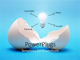 PowerPlugs: PowerPoint template with an egg with an idea and a number of options with bluish background