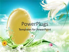PowerPlugs: PowerPoint template with an egg with a number of flowers and a bluish background