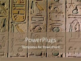 PowerPoint template displaying egyptian hieroglyphics craved in stone for history