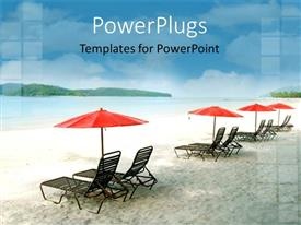 PowerPoint template displaying eight beach chair lounges with red umbrellas on beach looking to the ocean