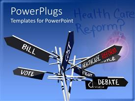 PowerPlugs: PowerPoint template with eight black sign post plates with different health care text on them