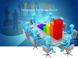 PowerPlugs: PowerPoint template with eight blue 3D figures sitting around a meeting table with chart with colorful bar lines and business people in the blue background
