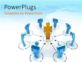 PowerPlugs: PowerPoint template with eight blue characters standing and bowing round a gold one in the centre