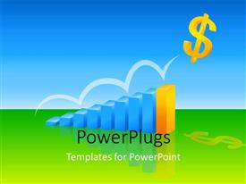 PowerPoint template displaying eight blue colored bars with a distinct yellow one leading