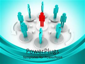 PowerPlugs: PowerPoint template with eight blue colored human figures with a red one in the middle