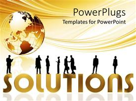 PowerPlugs: PowerPoint template with eight human characters standing on different parts of a text which spells out the word'solutions'