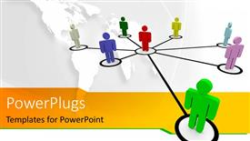 PowerPoint template displaying eight human figures joined with lines