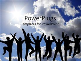 PowerPlugs: PowerPoint template with eight humans jumping with a clear shiny sky background