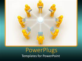 PowerPlugs: PowerPoint template with eight men connected in star topology carrying laptops in hand