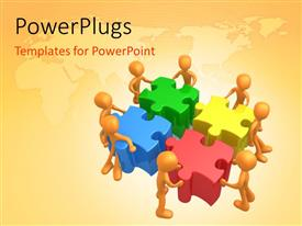 PowerPlugs: PowerPoint template with eight orange figures pushing together large puzzle pieces