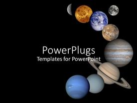PowerPlugs: PowerPoint template with all eight planets lined up in space galaxy moon venus mars pluto jupiter earth