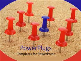 PowerPlugs: PowerPoint template with eight pushpins with one blue one in the center