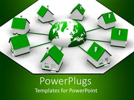 PowerPoint template displaying eight small green and white houses linked to a green earth