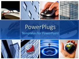 PowerPlugs: PowerPoint template with eight tiles with hands, high buildings and glasses on a book