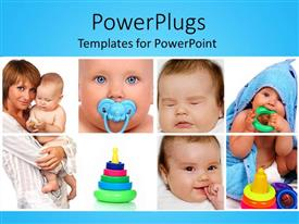 PowerPlugs: PowerPoint template with eight tiles showing a mother and her baby with toys