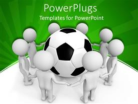 PowerPlugs: PowerPoint template with eight white 3D figures holding hands framing a black and white soccer ball on white and green background