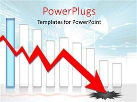 PowerPoint template displaying eight white colored bars and a blue one with a red arrow