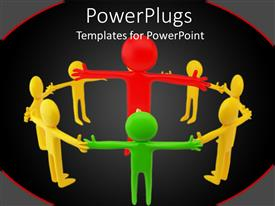 PowerPlugs: PowerPoint template with eight yellow and green 3D human characters standing round a large red one
