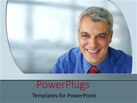 PowerPlugs: PowerPoint template with an elderly business man wearing a blue shirt and smiling happily