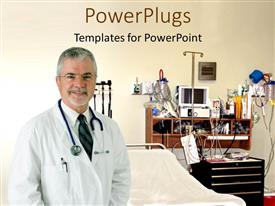 PowerPlugs: PowerPoint template with an elderly doctor with a stethoscope standing in an operating room