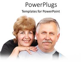 PowerPlugs: PowerPoint template with an elderly male and female couple smiling over a white background